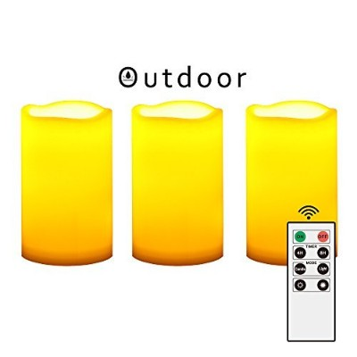 Outdoor Flameless LED Candles with Remote & Timer - Long Lasting Waterproof Realistic Flickering...