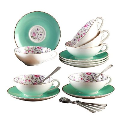 Jusalpha ®エレガントなPorcelain Tea Cup and Saucer set-coffeeカップセットwith Saucer and Spoon fd-tcs10 Set of 6