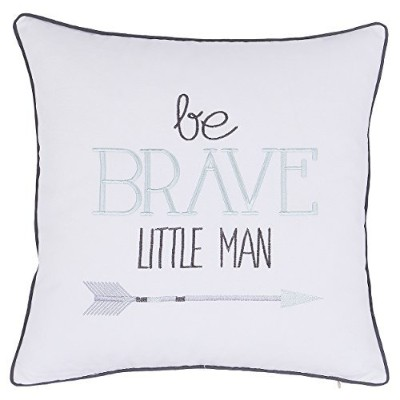 (18X18, Ivory) - ADecor Pillow Covers Be Brave little man pillow cases embroidered pillow children...