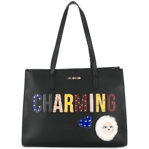 Love Moschino patches tote bag - ブラック