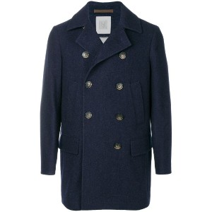Eleventy double-breasted buttoned coat - ブルー