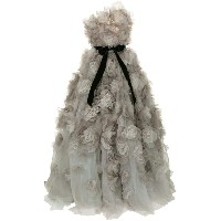Marchesa strapless tulle degrade layered dramatic ballgown - グレー