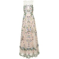 Zuhair Murad jewel neck fully embellished tulle ball gown - ピンク&パープル