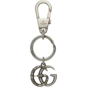 Gucci Double G with snake keychain - メタリック
