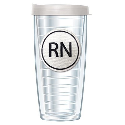 RNエンブレムonピンクRoundabout Tumbler Cup with Clear Lid 22 Oz ホワイト