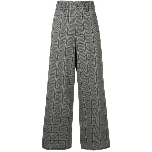G.V.G.V. plaid wide leg trousers - グレー