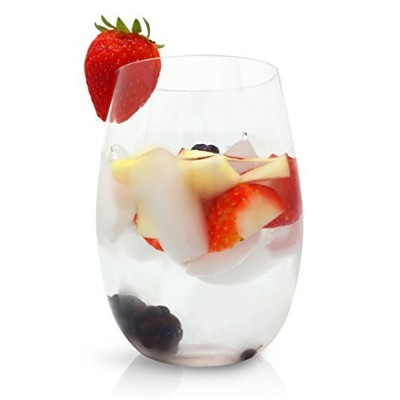 deluxesetの4 Unbreakable Stemless Wine Glasses by three21 – クリア、柔軟な& shatterproof16オンス飲料Glasses –...