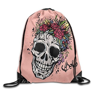 trustinee478Day of the Dead InspiredデザインのAスカルwith Festive Floral Wreath Boho水泳メンズレディース巾着バッグバックパック
