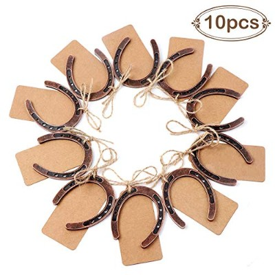 OurWarm 10pcs Good Lucky Horseshoe Gift with Kraft Tags for Rustic Wedding Favours Decoration,...