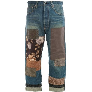 Junya Watanabe patch-work cropped jeans - ブルー