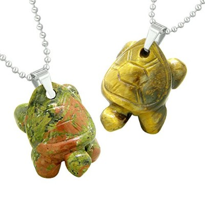 Lucky TurtlesチャームLoveカップルまたはBest Friends Healing Amuletsセットユナカイトand Tiger Eyeネックレス