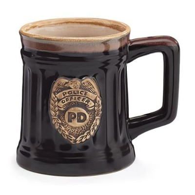 Police Officer磁器コーヒーMug with Police Department Crest Stein Shaped