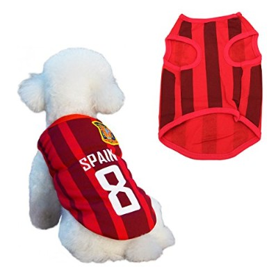 (XXL) - Dog Clothes Football T-shirt Dogs Costume National Soccer World Cup FIFA Jersey for Pet...