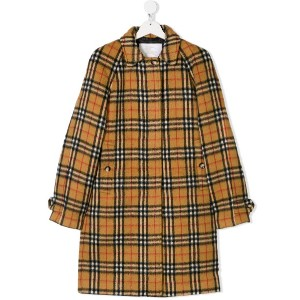 Burberry Kids TEEN concealed fastening check coat - イエロー&オレンジ