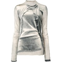 Jean Paul Gaultier Vintage trompe l'oeil turtle neck top - ヌード&ナチュラル