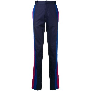 Alexander McQueen striped panel trousers - ブルー