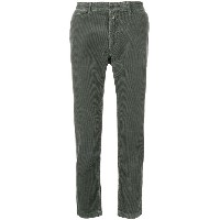 Closed carrot-fit corduroy trousers - グリーン