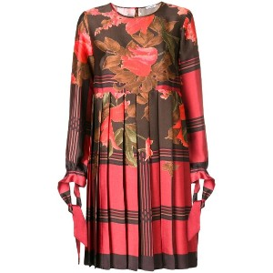 P.A.R.O.S.H. floral pleated shift dress - レッド