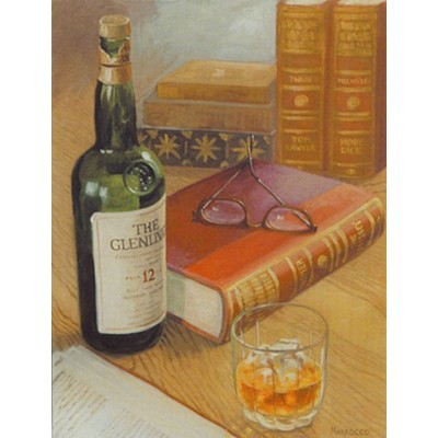 On the Rocks by David Marrocco 14 X 11アートプリントポスター壁装飾glengivet 12 Scotch Books Tom Sawyer Moby Dick...