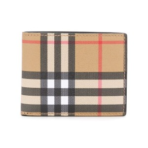 Burberry checked print foldable wallet - ニュートラル
