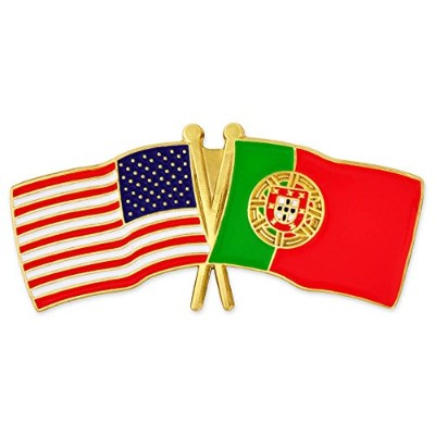 Pinmart 's USA and Portugal Crossed Friendship Flagエナメルラペルピン 1
