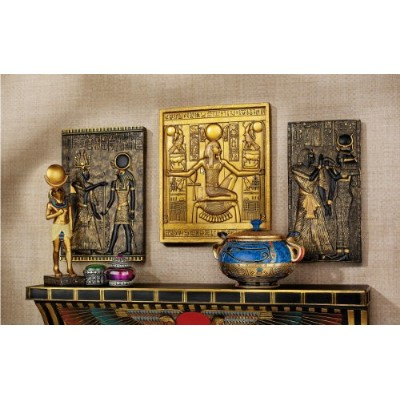エジプトパピルスコンボ壁Sculptural Plaqueset King Tut Goddess IsisとGoddess Horus