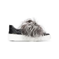 Sergio Rossi fur trim sneakers - ブラック