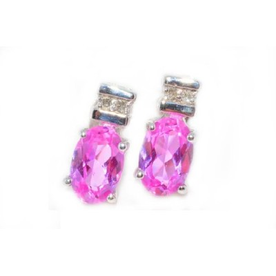 1 Ct Created Pink Sapphire & Diamond Oval Stud Earrings .925 Sterling Silver Rhodium Finish
