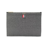 Thom Browne Bicolor Small Zipper Tablet Holder In Pebble Grain - グレー