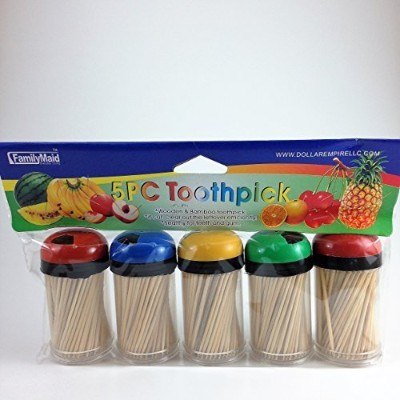 つまようじディスペンサー5パックwith 750 Ct 100 % All Natural Bamboo Round Toothpicks