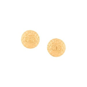 Chanel Vintage CC logo round clip-on earrings - メタリック