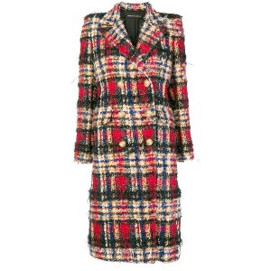 Alexandre Vauthier oversized check coat - レッド