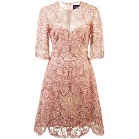 Marchesa Notte embroidered lace cocktail dress - ピンク&パープル