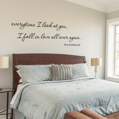 everytime I look at you I fall in love over again. The Notebook Quote Vinyl Wall decal (Black, X...