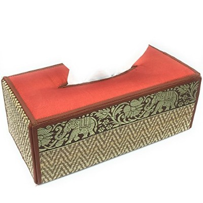 Thailand Silk handmade elephent reed placemats and Rectangular Tissue Box Cover with Silk Elephant...