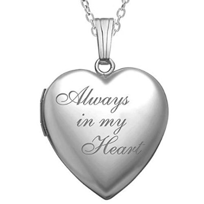 PicturesOnGold.com ハート型ロケットペンダント スターリングシルバー製 Always in my Heart 3/4インチ×3/4インチ