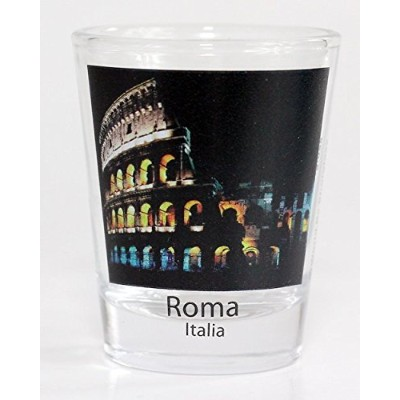 Rome Italy Colosseum Night View Color Photo Shot Glass by World By Shotglass