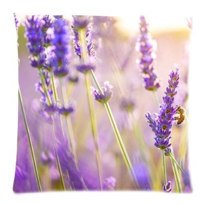 Home Fashions Lavender Flowers Bee Sun Custom Zippered Throw Pillow Case Bed Sofa Car Back Cushion...