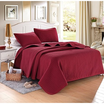 "(King (96x102), Red) - KING BURGUNDY Solid colour Quilted Bedspread Coverlet(96""x102"") +2 shams (20..."