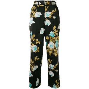 Junya Watanabe floral cropped trousers - ブラック