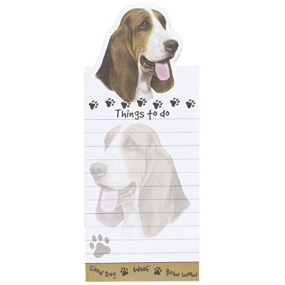 Basset Hound Magnetic List Pads Uniquely Shaped Sticky Notepad Measures 8.5 by 3.5 Inches by E&S...