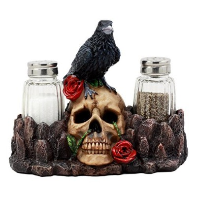 "Ebros Day of the Dead Raven Crow WithローズスカルSalt & Pepper ShakersホルダーFigurineセット6.5 "" L"