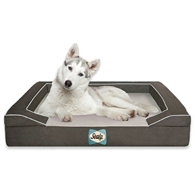 Sealy Dog Bed with Quad Layer Technology, Large, Modern Gray by Sealy Dog Bed