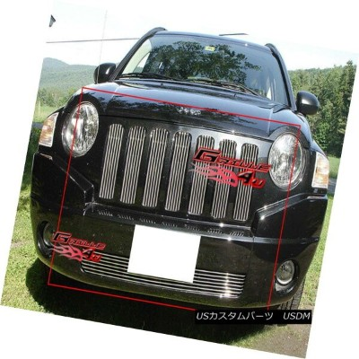 USグリル Fits 06-2010 Jeep Compass Vertical Billet Grille Combo Insert フィット06-2010ジープコンパス垂直ビレットグリルコンボイン...