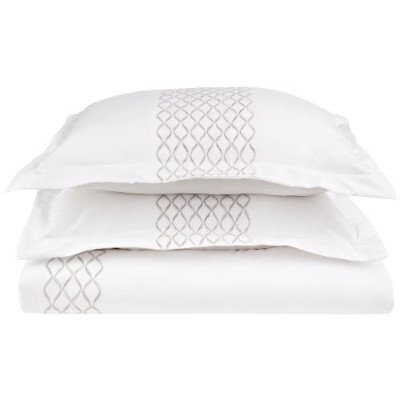 HANNAH Embroidered Duvet Cover Set, Soft Microfiber, Full/Queen, White/Grey