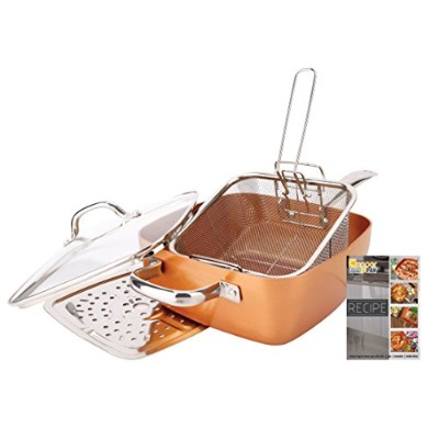 Non-Stick Copper Titanium Chef 5 Piece 24cm Square Pan Set