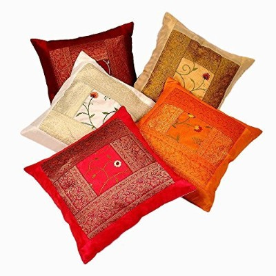 Rastogi Handicrafts Silk Zari Hand Embroidery Work Silk 5 Piece Cushion Cover Set - Multicolor