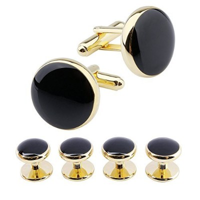 (Gold Tone/Black) - HAWSON Round Cufflinks and 4 Tuxedo Studs Set for Mens Dress Shirt Business...