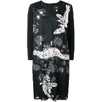 Cavalli Class v-neck eagle print dress - ブラック