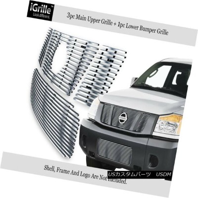 USグリル Fits 08-15 2015 Nissan Titan 304 Stainless Steel Billet Grille Combo フィット08-15 2015日産タイタン304ステ...